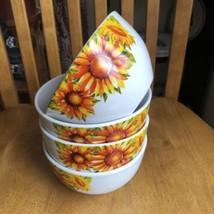 Royal Norfolk Cereal & Soup Bowls Sunflowers Design Set Of 4 NWT - $17.82