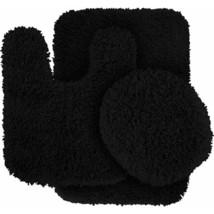 Glamor Runner Shaggy Nylon Washable Bathroom Garland Rug Set Solid Patte... - $177.20