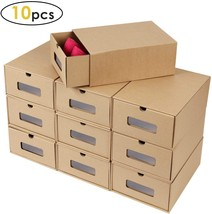 Prasacco Shoes Box, 10 Pack,DIY Visible Cardboard Shoe Storage Boxes,Shoe Box St