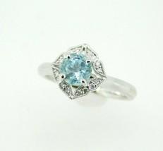 14k White Gold Sky Blue Genuine Natural Tourmaline and Diamond Ring (#J5... - $795.00
