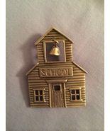 JJ Jonette Jewelry Pewter Jewelry pin Old School House Bell in Steeple - $15.79