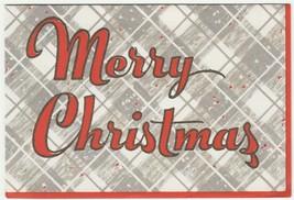 Vintage Christmas Card Gray Plaid Wallace Shawn 1960's Glitter Trim - $6.92
