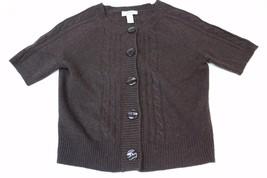 W12056 Womens ANN TAYLOR LOFT brown wool blend short-sleeve cable CARDIG... - $30.90
