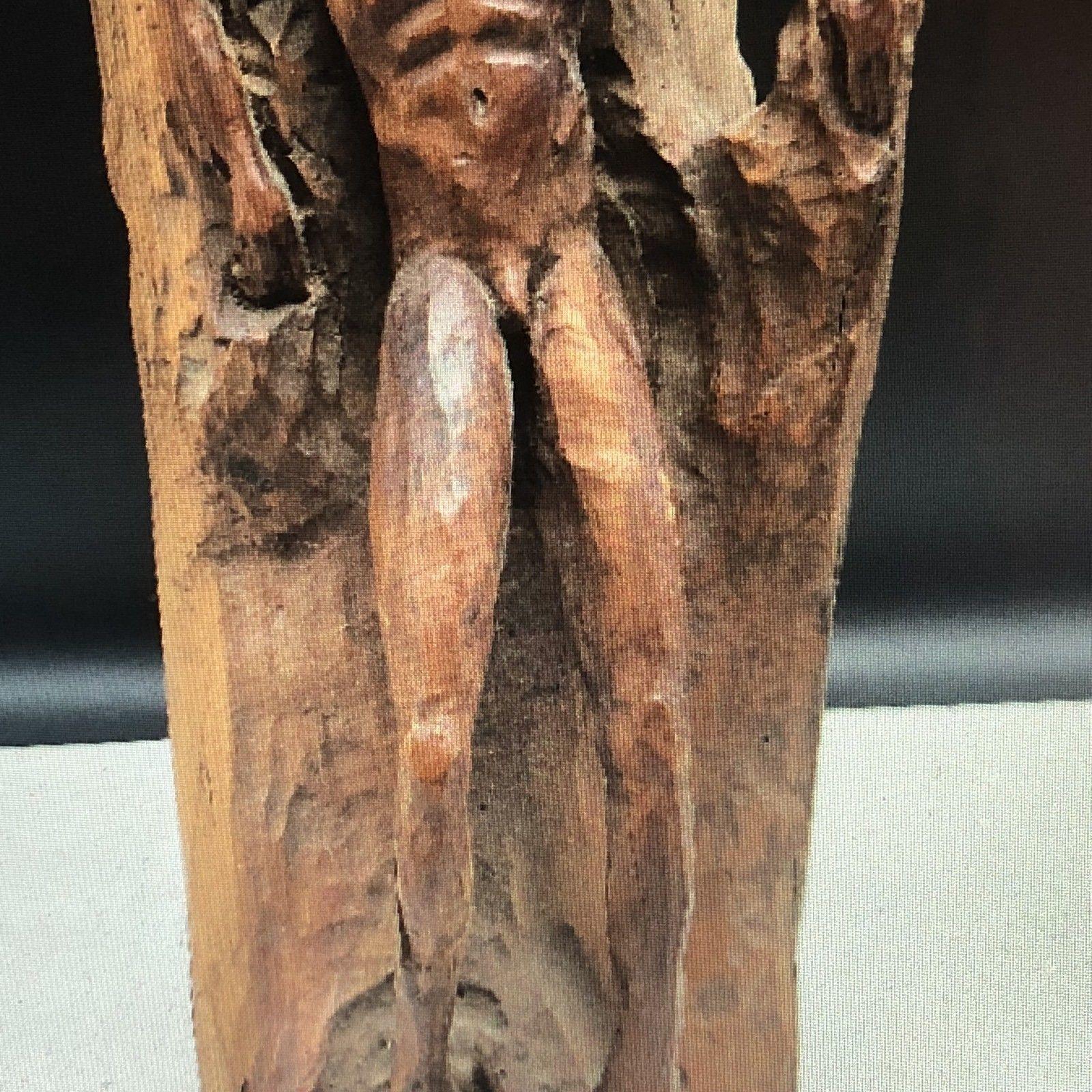 HAND CARVED WOOD NAKED MAN FOLK ART vintage antique nude male stand sculpture