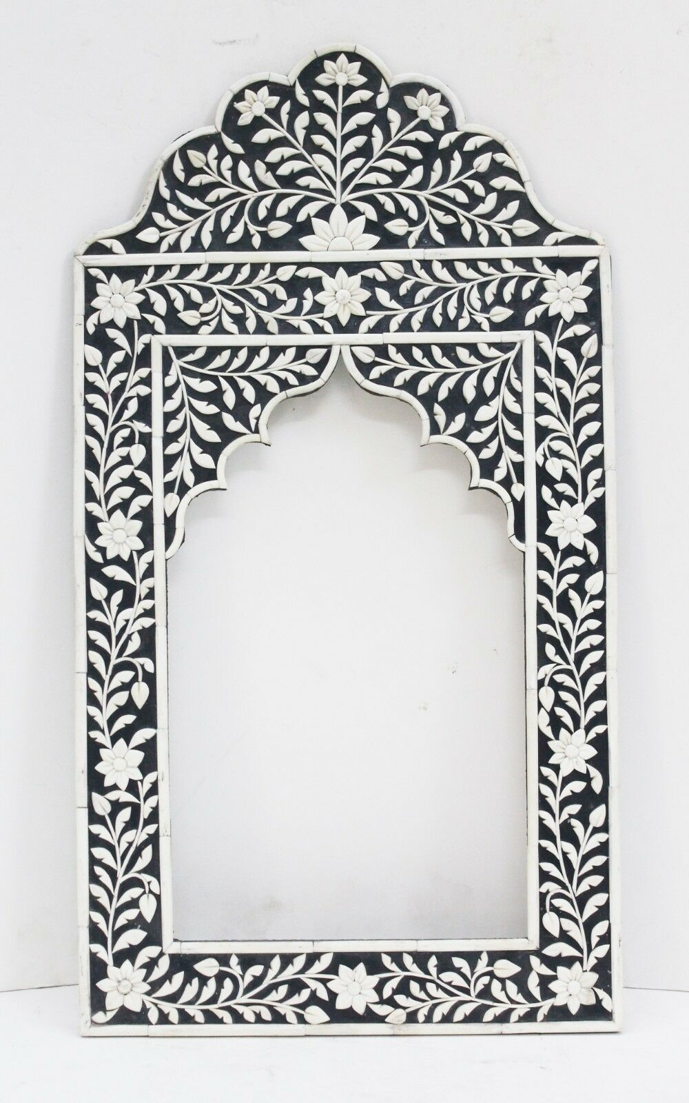 Primary image for Picture Frame Embossed Flower Design Mirror Vintage Camel Bone Wood Art US409AH