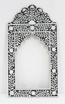 Picture Frame Embossed Flower Design Mirror Vintage Camel Bone Wood Art ... - $4.586,89 MXN