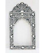 Picture Frame Embossed Flower Design Mirror Vintage Camel Bone Wood Art ... - $236.55
