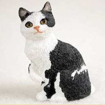 Manx (Black White) Cat TINY ONES Figurine Statue Pet Resin - $8.99
