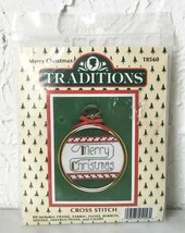 "Traditions Merry Christmas Counted Cross Stitch Kit - 3"" Round Frame - $5.65"