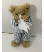 Bearinton Illie Willie Teddy Bear Get Well Soon Plush blue striped Pajam... - $9.89
