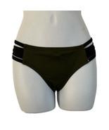 Victorias Secret PINK XS Olive Green Black Split Side Strappy Bikini Bot... - $18.52