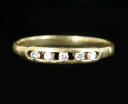 Antique Art Deco Dainty 14k Yellow Gold Channel Diamond Ring Band 6.5 - $215.99