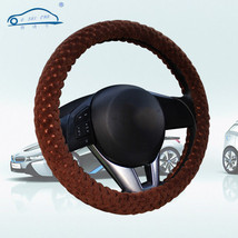 Pearl Velvet Winter Car Brown Steering Wheel Cover Soft Warm Plush Unive... - $6.80
