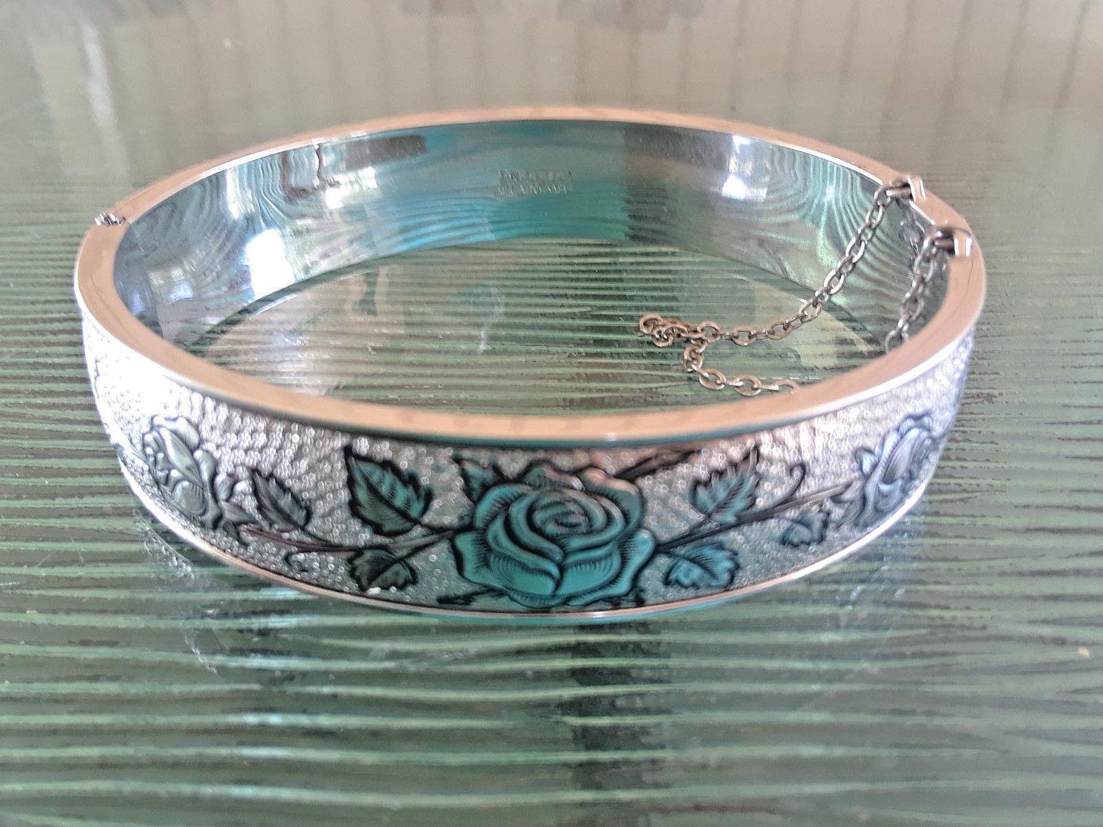 Vintage Signed Hayward Sterling Silver Roses Flowers Hinged Bangle Original Box