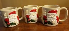 Vtg Otagiri Christmas Santa Clause Hand Painted Coffee Mugs Cups Peace S... - $25.73