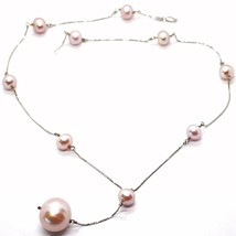 Necklace Lariat White Gold 750 18K, Pearls Purple 16 mm, Pendant Chain Venetian image 1