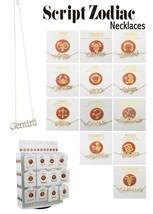 Zodiac Script Necklace Gold Tone Astrology Jewelry Birthday Birth Signs - $16.99