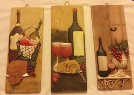 RARE 3pc Set of 3D Wall Art Decor Ceramic Plaques,Wine Bottles, Grapes &... - $14.84