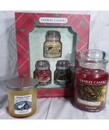 Yankee Candle Lot 22 Oz 7 Oz. and Gift Box of Three 3.7 oz. Jars Xmas Sc... - $46.74