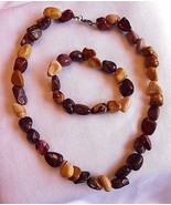 Natural Stone Necklace and Bracelet Beige Brown Burgundy - $18.57