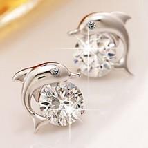Lovely Crystal Eye Dolphin Cz Stud Earrings Womens Sterling Silver Jewelry - $7.99