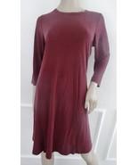 Nwt Bobeau Keyhole Knit  A line Shift Dress  3/4 Sleeve Sz S Small Burgu... - $29.65