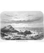 CALIFORNIA Pacific Ocean from Coast of Santa Clara - 1883 German Print - $9.00