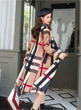 Women DoubleBreasted High Fashion Style Broadcloth Plaid Trench Coat image 4
