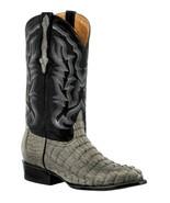 Mens Gray Western Boots Crocodile Tail Skin Genuine Leather Cowboy J Toe - €236,23 EUR