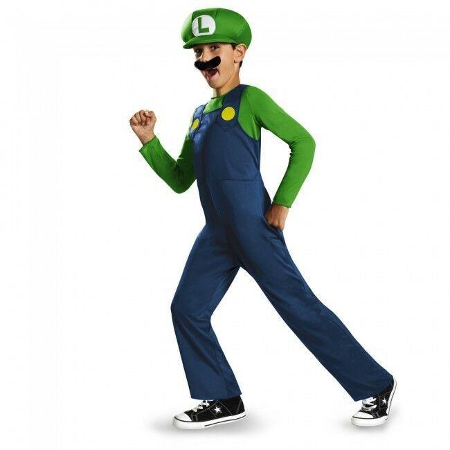 Disguise Super Mario Bros Luigi Classic Child Boys Halloween Costume 73692
