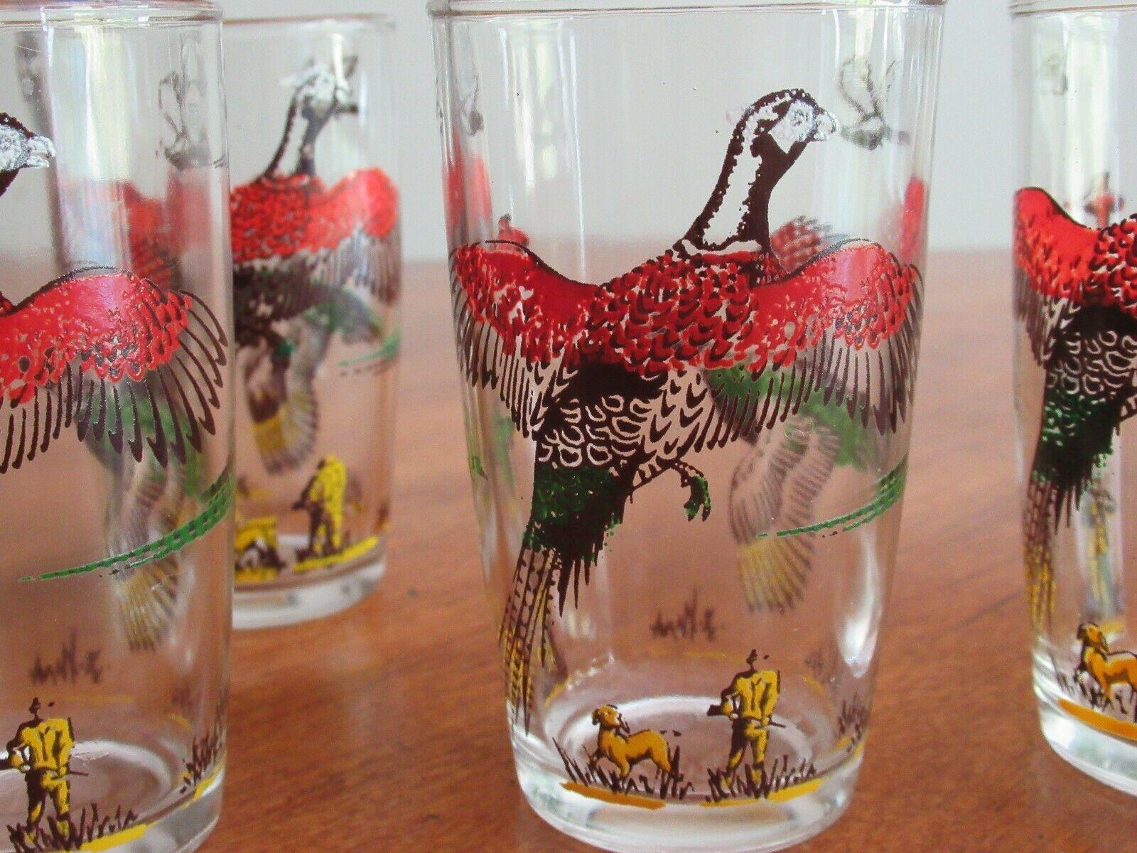 "4x Vintage Hazel Atlas Pheasant Game Bird Hunting Drinking Juice Glass 3.7"" Dog - $24.99"