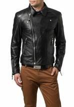 Mens Leather Jacket Black Genuine Lambskin Motorcycle New Slim Fit Coat ... - $117.99
