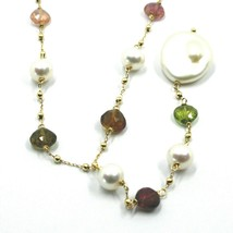 """18K YELLOW GOLD 17.3"""" 44cm NECKLACE FACETED TOURMALINE DROPS PEARLS, BALLS CHAIN image 2"""