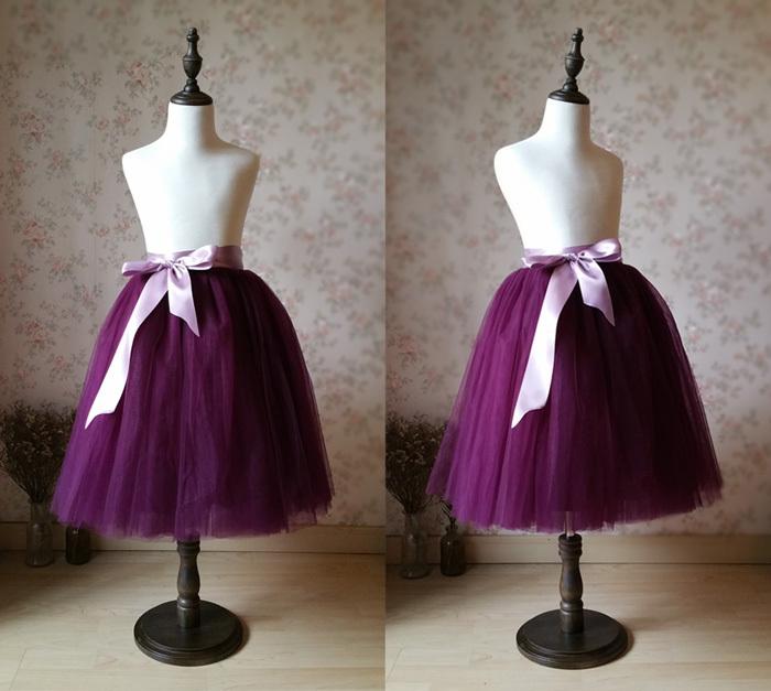 Girl Plum Tulle Skirts Circle Flare A-line Long Wedding Flower Girl Skirt for sale  USA