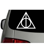HARRY POTTER DEATHLY HALLOWS, Vinyl Decal Sticker, white CHOOSE SIZE - $1.89+