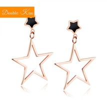 Simplicity Geometric Star Stud Earrings Titanium Stainless Steel Inlaid ... - $14.45