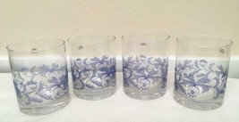 Set of 4 Spode Blue Italian Double Old Fashioned Glasses 16oz - $39.59