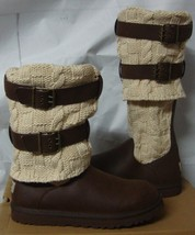 UGG Chocolate Brown Cassidee Tall Cable Knit Boots Size US 7,EU 38 NEW #1007691 - $98.99