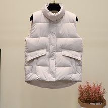 New black warm padded winter vest with pockets stand collar sleeveless waistcoat image 8