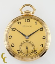 14K Yellow Gold Antique Hamilton Open Face Pocket Watch Gr 923 10S 23 Jewel - €2.520,59 EUR