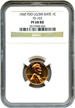 1960 1c NGC PR 68 RD (Large/Small Date, FS-103) - Lincoln Cent - $772.20
