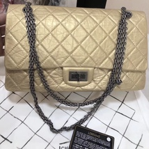 8207e3260944 AUTH Chanel Classic 2.55 Reissue 227 Jumbo Double Flap Bag Champagne Pale  Gold - $3,199.99