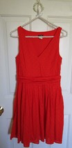 J Crew Factory Orange Sleeveless Dress Dot Belted lined  A Line SIZE 2 cotton - $18.67