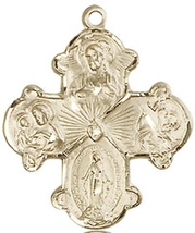 FOUR WAY MEDAL - 14KT Gold  Medal Pendant - NO CHAIN -  0042 - $712.99