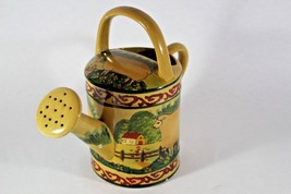 Ceramic Watering Can Vintage Farm Sheep In Field Tuscan Colors - $22.28