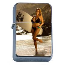 Surfer Pin Up Girls D10 Flip Top Oil Lighter Wind Resistant With Case - $12.82