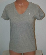 "RALPH LAUREN SPORT Medium Heather Gray T-Shirt Top Shirt Chest 34"" V-Nec... - $13.55"