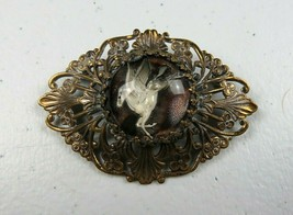 "Beautiful Unique Flying Unicorn Brooch Pin with Bronze Tone Metal 2 1/4"" - $25.00"