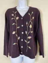 Talbots Womens Size M Burgundy Floral E Button Up Cardigan Long Sleeve  - $14.69