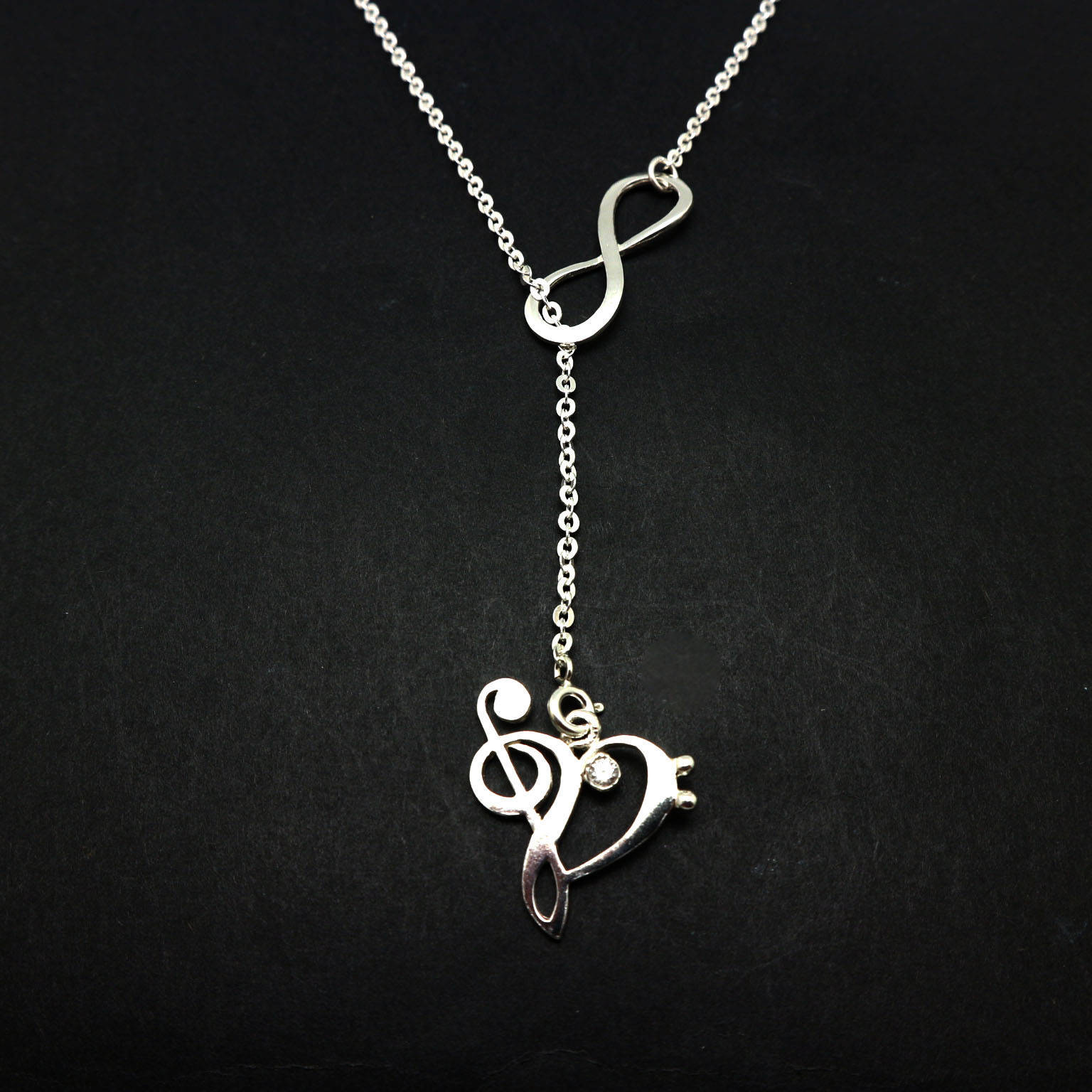 Primary image for Handmade 925 Sterling Silver Double Infinity Music Note Lariat Y Necklace